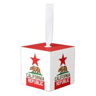 Dynamic California State Flag Graphic on a Cube Ornament