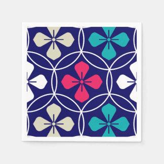 Dynamic circle and petals navy pattern napkin