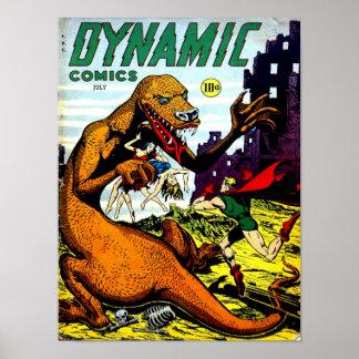 DYNAMIC COMICS Cool Vintage Comic Book Cover Art Poster