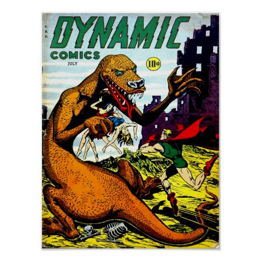 Cool Book Cover Posters : Dynamic comics cool vintage comic book cover art poster