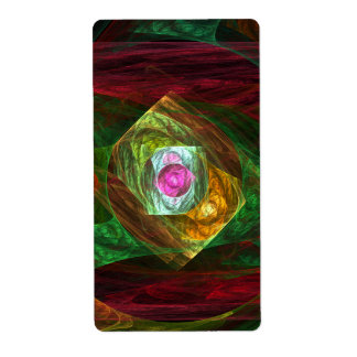 Dynamic Connections Abstract Art Fractal Label