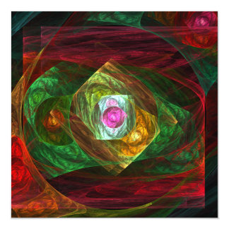 Dynamic Connections Abstract Art 5.25x5.25 Square Paper Invitation Card