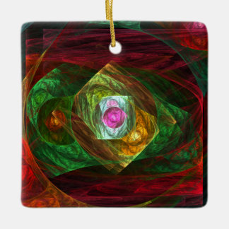 Dynamic Connections Abstract Art Square Ornament