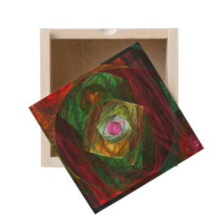 Dynamic Connections Abstract Art Wooden Keepsake Box
