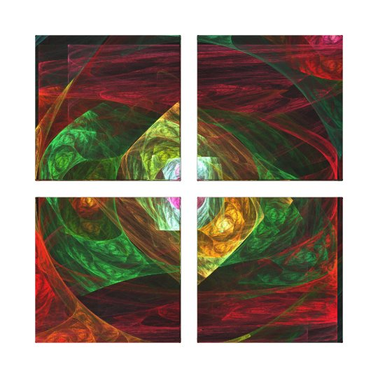 Dynamic Connections Abstract Quad Canvas Print