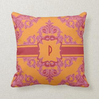 Dynamic Damask Pink, Orange and Red Throw Pillow