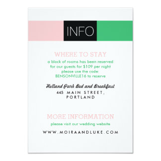 "Dynamic Duo Modern Wedding Invitation Information 4.5"" X 6.25"" Invitation Card"