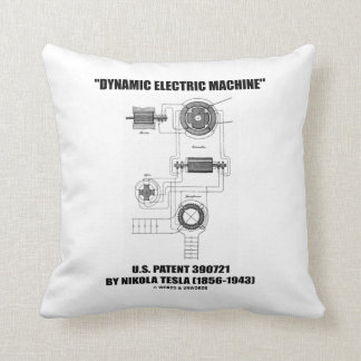 Dynamic Electric Machine U.S. Patent Nikola Tesla Throw Pillows