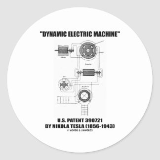 Dynamic Electric Machine US Patent 390721 By Tesla Classic Round Sticker