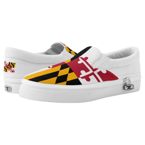 Dynamic Maryland State Flag Graphic on a Slip-On Sneakers