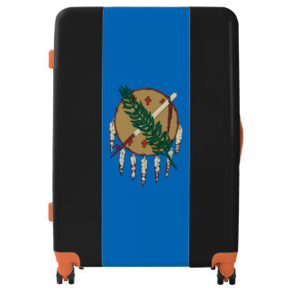 Dynamic Oklahoma State Flag Graphic on a Luggage