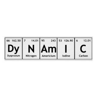 DyNAmIC Periodic Table Element Word Chemistry Atom Poster