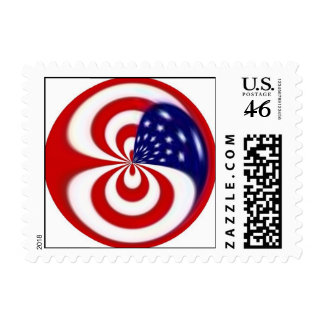 Dynamic Red White And Blue Postage