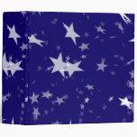 Dynamic Starfield: White Stars on Blue Background Vinyl Binder