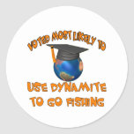 Dynamite Fishing Round Stickers