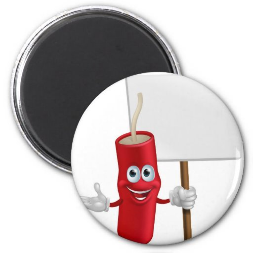 Dynamite mascot holding a sign 2 inch round magnet