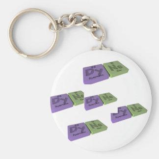 Dyne as Dy Dysprosium and Ne Neon Basic Round Button Keychain