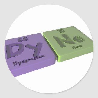 Dyne as Dy Dysprosium and Ne Neon Classic Round Sticker