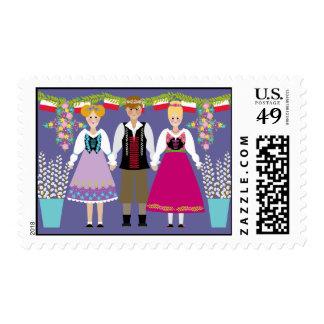 Dyngus Day Polish Folk Art Boy and Girls Stamp