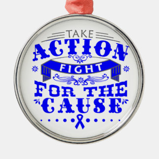 Dysautonomia Take Action Fight For The Cause Round Metal Christmas Ornament