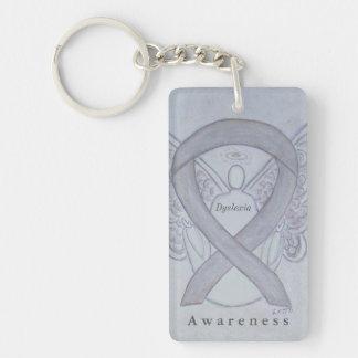 Dyslexia Angel Awareness Ribbon Keychain