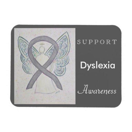 Dyslexia Awareness Silvers: Dyslexia Awareness Ribbon Angel Custom Magnet