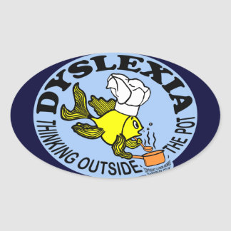 Dyslexia Chef Fish Sparky thinking outside the pot Oval Sticker