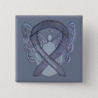 Dyslexia Silver Awareness Ribbon Angel Custom Pins