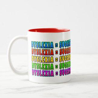 Dyslexia = Success2 funky logo Two-Tone Coffee Mug