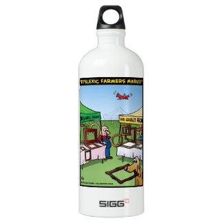 """""""Dyslexic Farmers Market"""" Aluminum Water Bottle"""