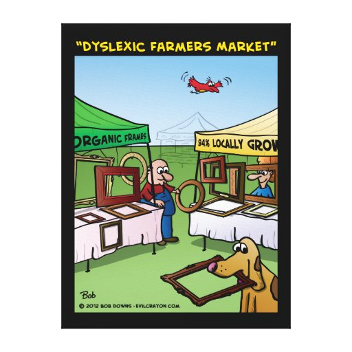 """""""Dyslexic Farmers Market"""" Gallery Wrapped Canvas"""