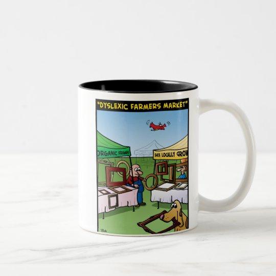 """Dyslexic Farmers Market"" Two-Tone Coffee Mug"
