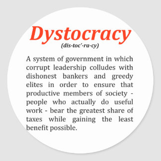 dystocracy2.png classic round sticker