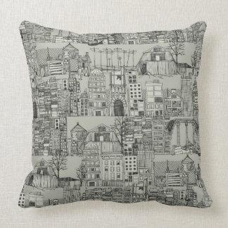 dystopian toile mono throw pillow