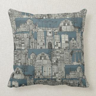 dystopian toile slate throw pillow