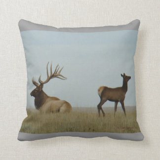 E0005 Bull Elk and Yearling Throw Pillow