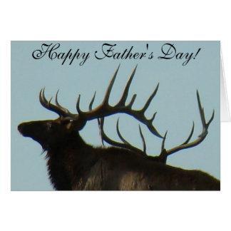 E0011 Bull Elk Horns on the Horizon Silhouette Greeting Card