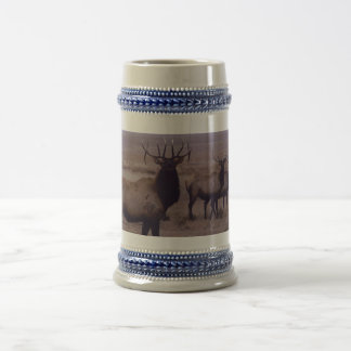 E0019 Bull Elk double drop tines Beer Stein