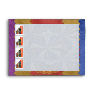 E001 NUMBER1 Satin Silk Sparkle Blue Rich Border Envelope