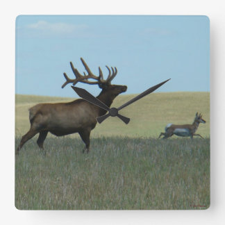 E0034 Bull Elk and Pronghorn Antelope Square Wall Clock