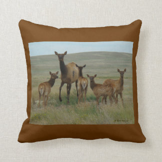 E0044 Cow Elk and Calves Throw Pillow