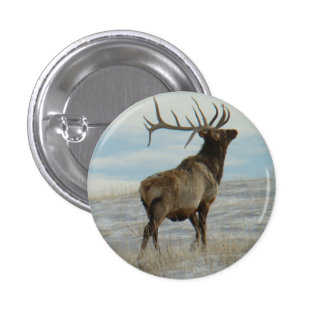 E0058 Bull Elk Lucky 13 Bull 1 Inch Round Button