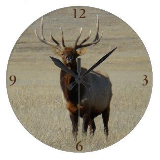 E0059 Bull Elk Large Clock