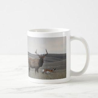 E0063 Bull Elk and Pronghorn Antelope Classic White Coffee Mug