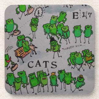 """E17 Art Trail """"E17 cats"""" (green) Beverage Coaster"""