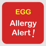 e1 - Alarma de la alergia - HUEVOS Pegatina Cuadradas