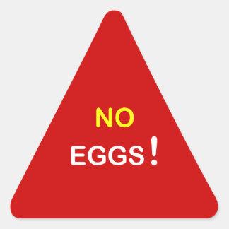 e3 - ~ alerta de la comida NINGUNOS HUEVOS Pegatina Triangular