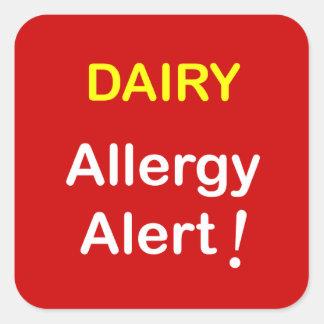 e7 - Alarma de la alergia - LECHERÍA Pegatina Cuadrada