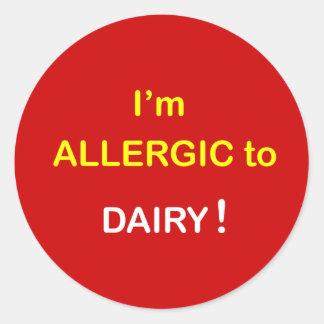 e8 - Soy alérgico - LECHERÍA Etiqueta Redonda
