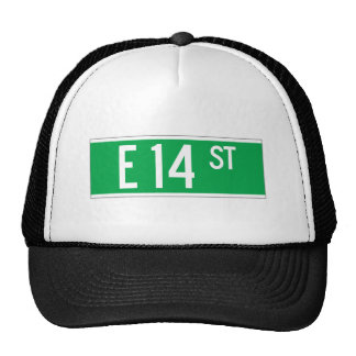 E 14 St., New York Street Sign Trucker Hats